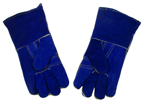 "1 Pair 13"" Blue Leather Welding Gloves-Safety-Furnace-Gold Melting-Smelting"