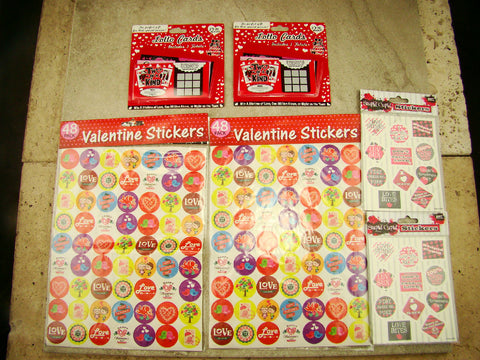 Valentine's Day Stickers and Valentine's Day Lotto Scratcher Cards Combo Pack