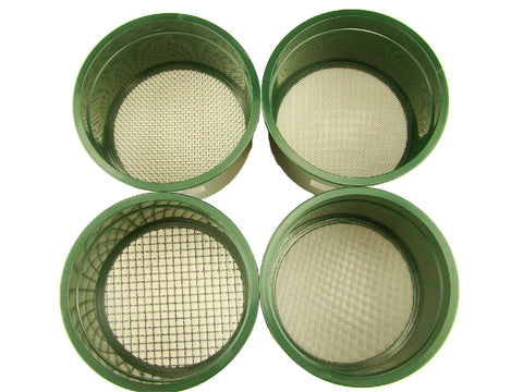 "Stackable Plastic Sieve / 4 screens Classifying 1/4""-1/10""-1/20""-1/30"" Mesh-Gold"