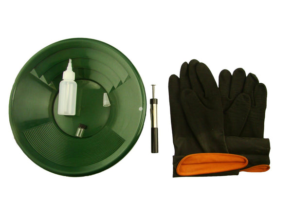 "12"" Green Gold Pan Kit + Rubber Gloves,  Magnet, Snuffer Bottle & 1"" Vial"