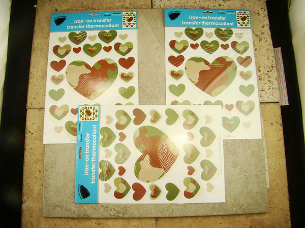 Valentines Green and Brown Camouflage Iron-on Patches Transfer Hearts 3 Pack