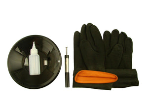 "8"" Black Gold Pan Kit + Rubber Gloves,  Magnet, Snuffer Bottle & 1"" Vial"
