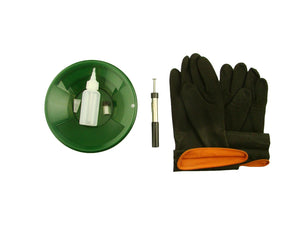 "8"" Green Gold Pan Kit + Rubber Gloves,  Magnet, Snuffer Bottle & 1"" Vial"