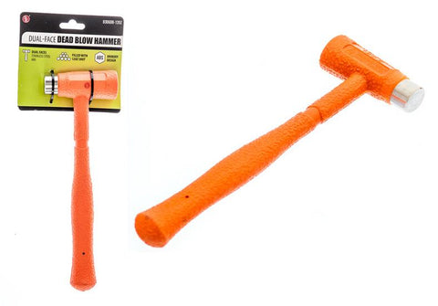 "8 3/4""/ 12oz Dual-Face Stainless Steel /ABS Head Dead Blow Hammer-Bright Orange"