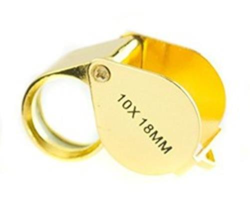 10x18MM Jewelers Loupe - Gold in color - Ore-Minerials-Gems-Gold
