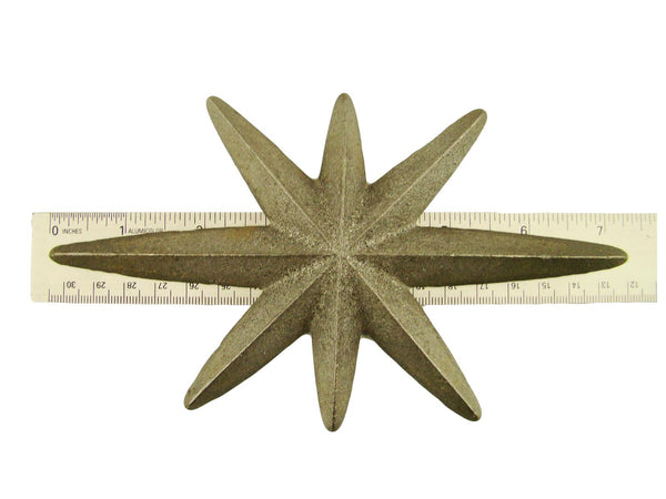 Cast Iron North Star -Weldable Paintable Deco Fence Gate House Barn 7-1/4""