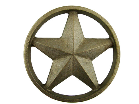 Cast Iron Round Texas Star -Weldable Paintable Deco Fence Gate House Barn 4-3/8""