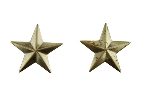 Set of 2 Small Star Stamped Steel Weldable Paintable Deco Fence Gate Barn 1-1/2""