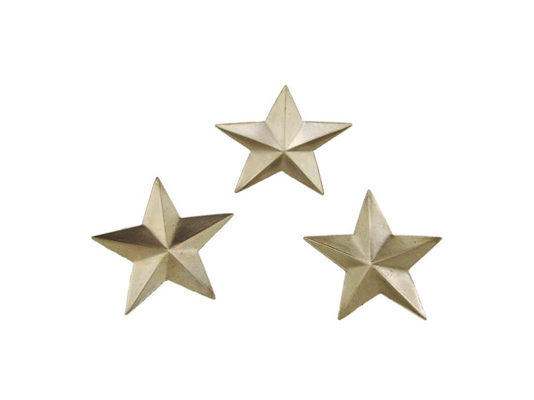 Set of 3 Small Star Stamped Steel Weldable Paintable Deco Fence Gate Barn 1-1/4""