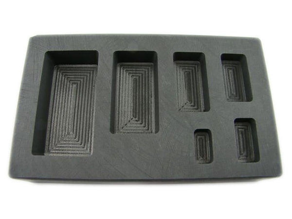 1/4-1/2-1-2-5-10 oz High Density Graphite Gold Bar Mold 6-Cavities-Silver Copper