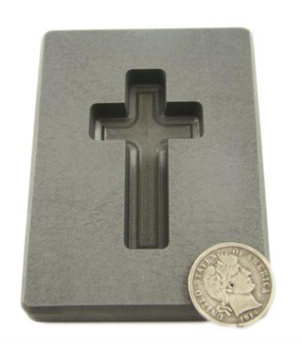 2 oz Custom Cross Gold High Density Graphite Mold 1 oz Silver Necklace 1-11/16""