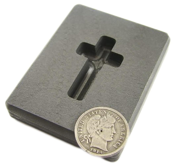 .75 oz Custom Cross Gold High Density Graphite Mold Silver Necklace 1-3/16""