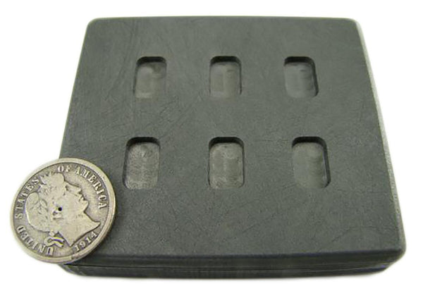 1 Gram x 6 High Density Graphite Gold Bar Mold 6-Cavities - 1/2 Gram Silver Bar