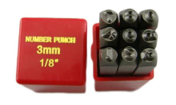 "1/8"" 9 Number Punch Stamp Set Hardned 40 CRV Steel Metal 64 HRC Heavy Duty"