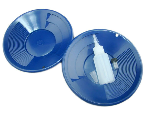 "Lot of 2 - 8"" Blue Gold Pans w/ Bottle Snuffer & Vial-Panning Kit-Duel Riffles"