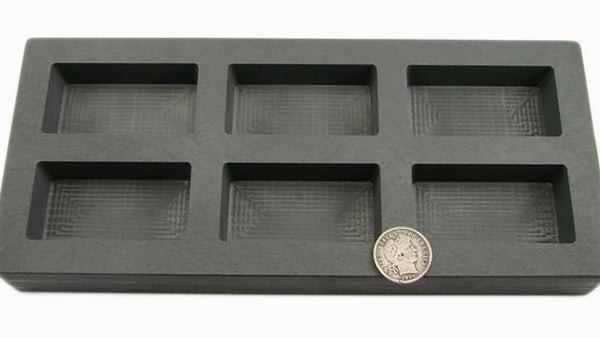 7.5 oz x 6 High Density Graphite Gold Bar Mold-5 oz Silver 6-Cavities Copper