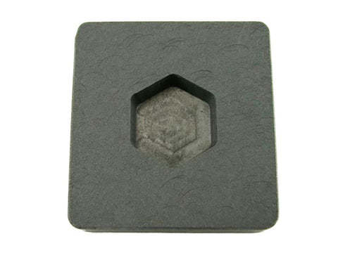 1 oz Gold Hexagon High Density Graphite Mold  1/2 oz Silver Bar Ingot Copper