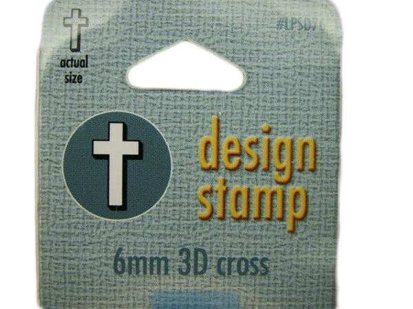 """3D Cross"" Religious 1/4""-6mm-Large Stamp-Metal-Hardened Steel-Gold & Silver Bar"
