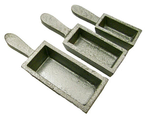 3 Mold Set - 200oz, 80oz, 40oz Gold Bar Loaf Cast Iron Steel Molds Melting