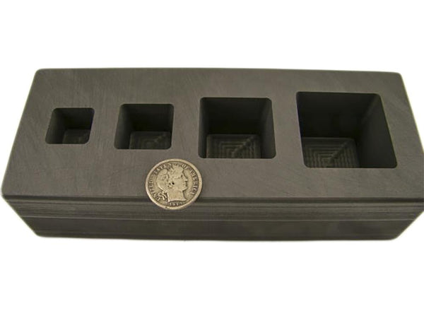 High Density Graphite Mold 1-2-5-10 oz Gold Bar Silver 4-Cavity Cube