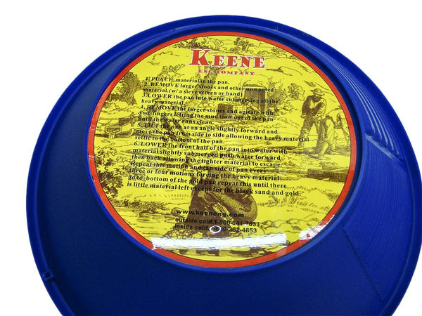 "Keene 12"" Blue 3 stage Gold Pan + Snuffer Bottle & Vial + Magnifier"