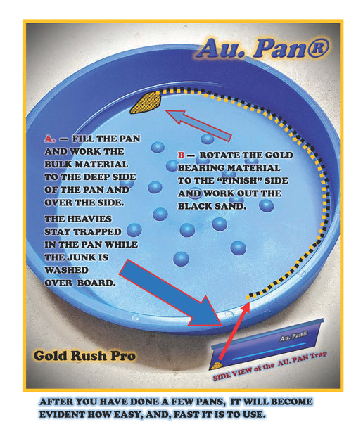 "12"" Blue AU. Gold Pan Max Panning Kit w/Paydirt - GoldRush Pro Series USA Made"