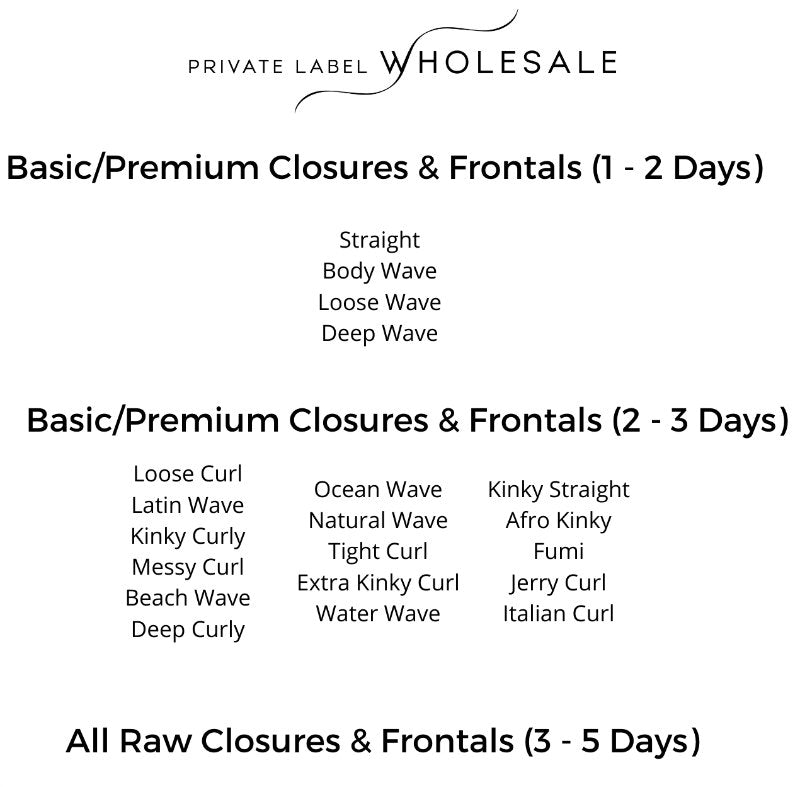 Closures and Frontals Shipping