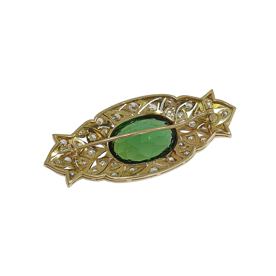 Vintage Tourmaline & Diamond Brooch