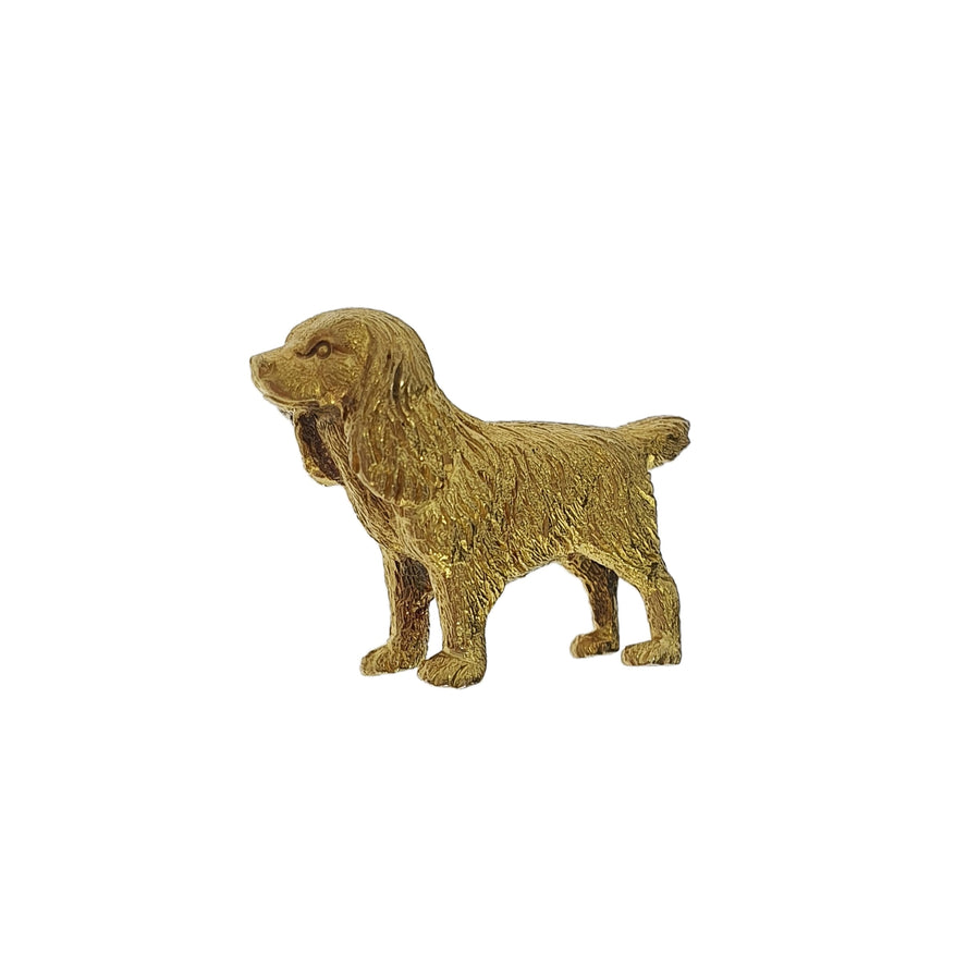 15ct Yellow Gold Spaniel Brooch