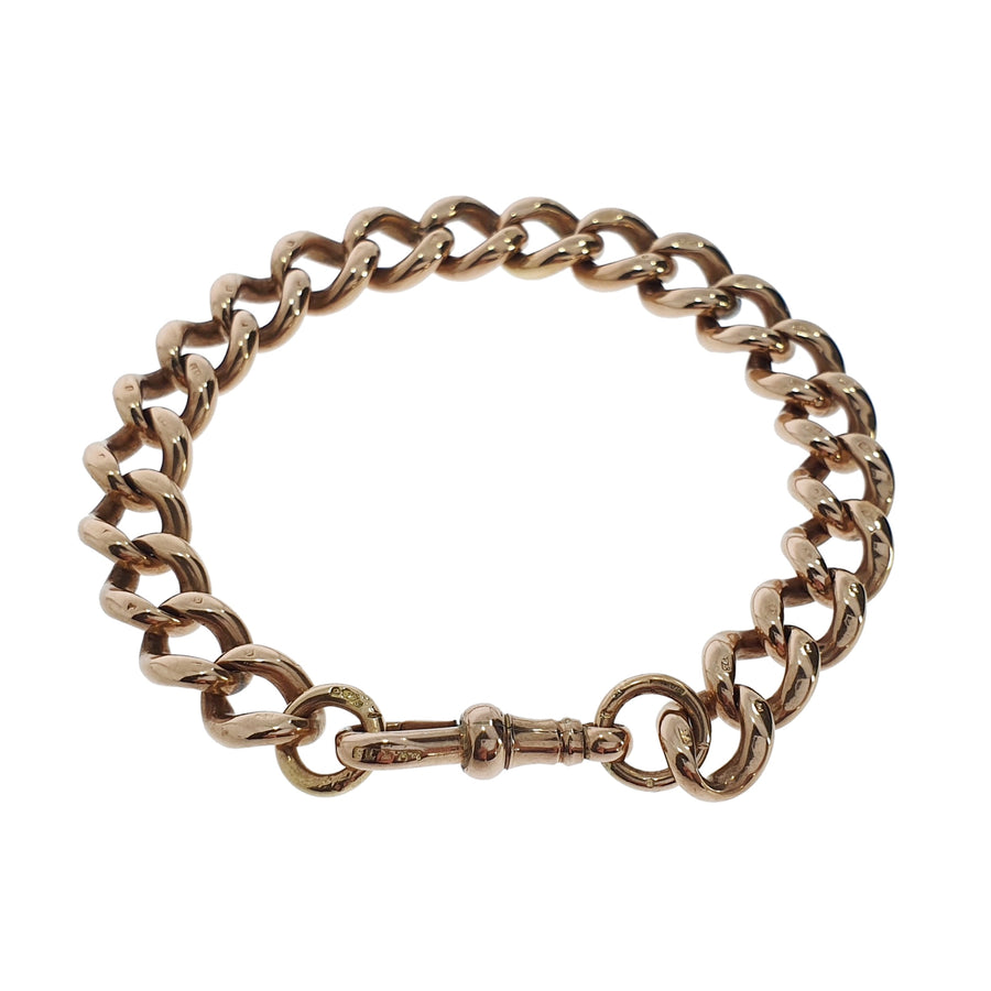 Vintage 9ct Rose Gold Curb Link Bracelet