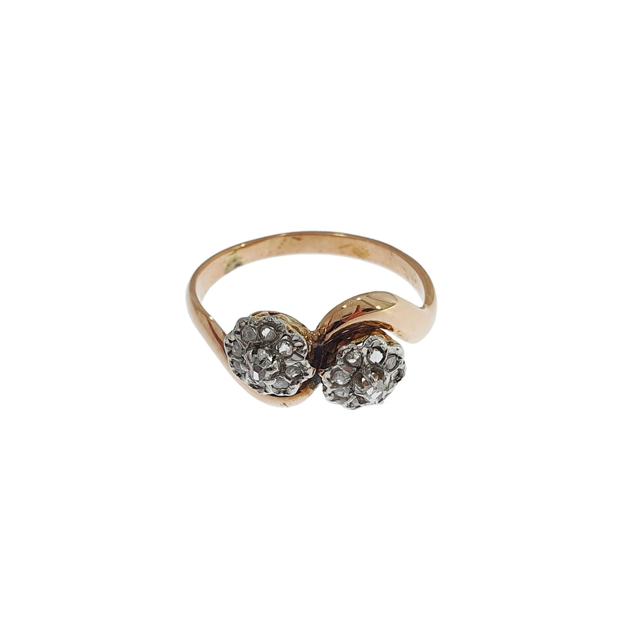Antique French Crossover Cluster Ring