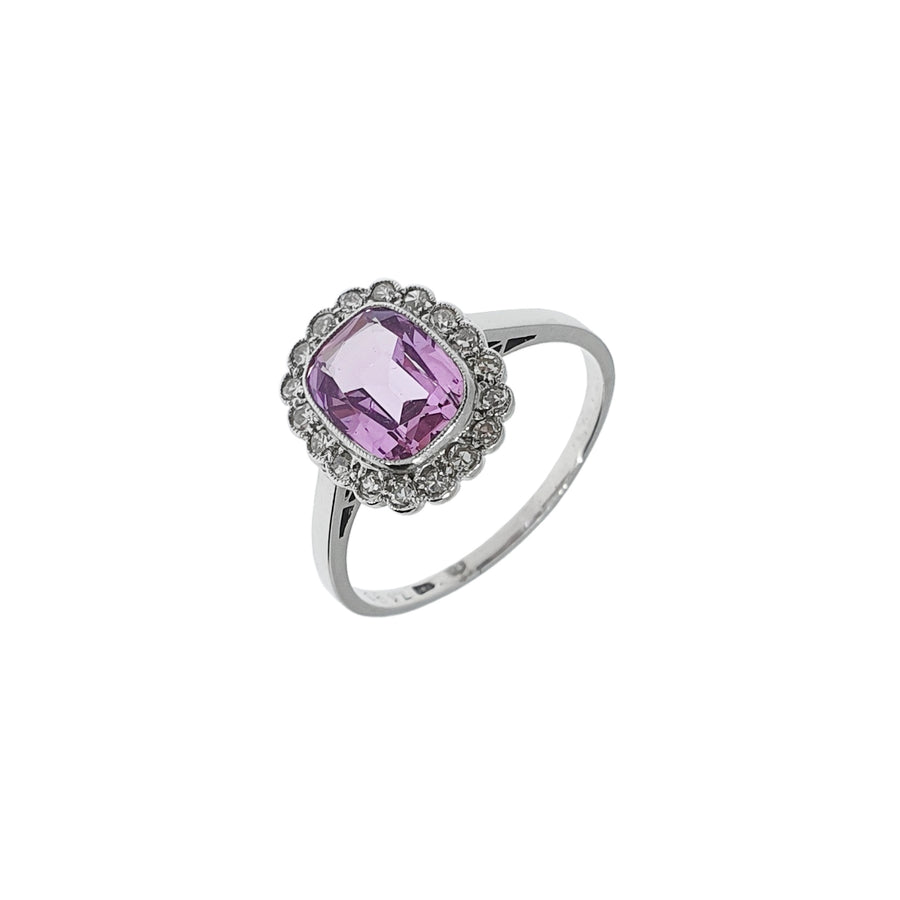 Pink Topaz & Diamond Cluster Ring