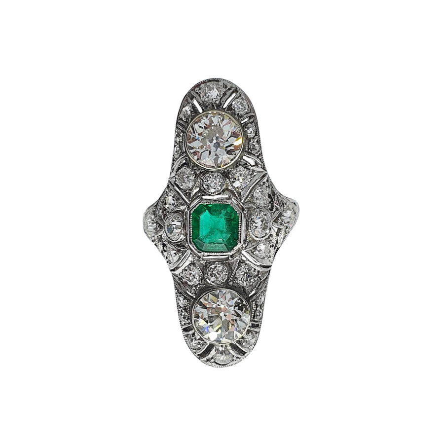 Antique American Emerald & Diamond Panel Ring