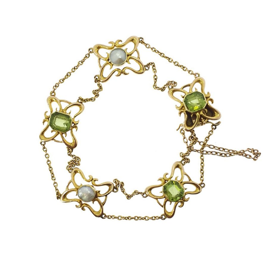 Antique Pearl & Peridot Bracelet