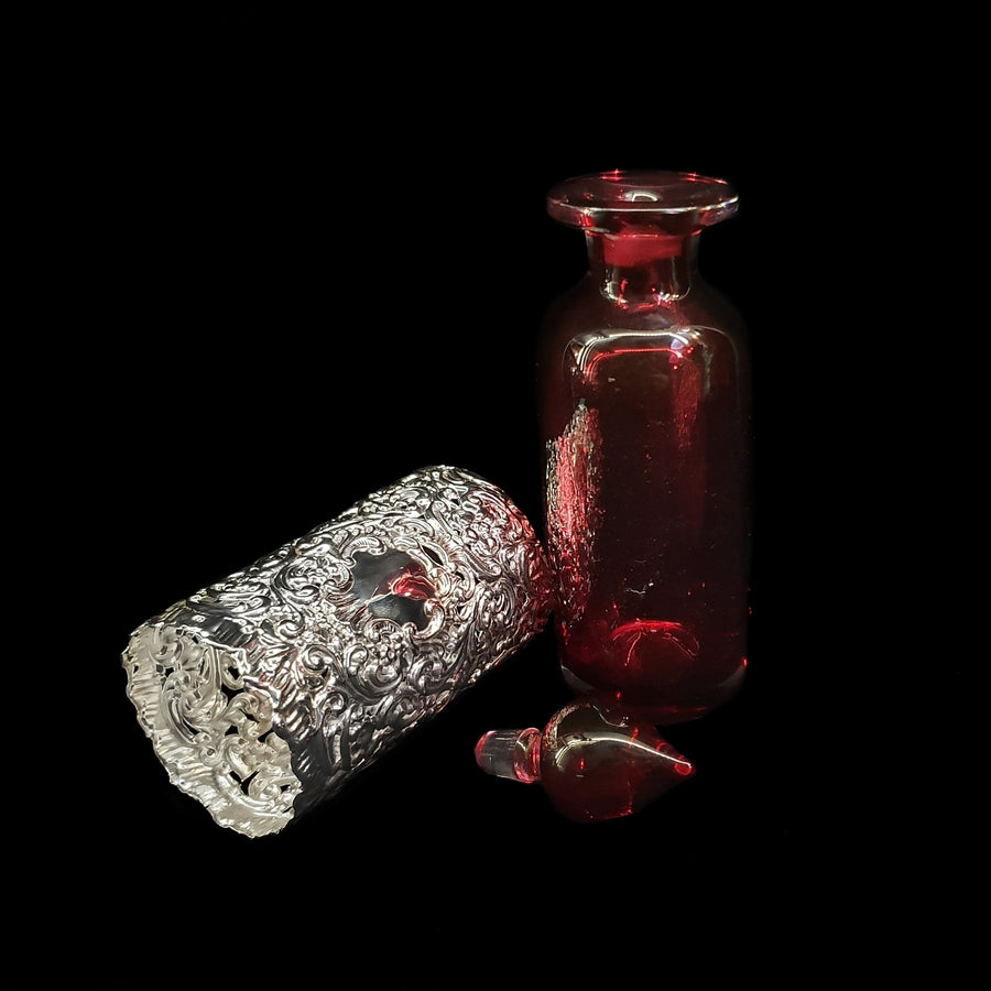 Silver & Cranberry Glass Perfume Bottle