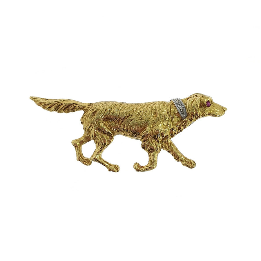 18ct Golden Retriever Brooch