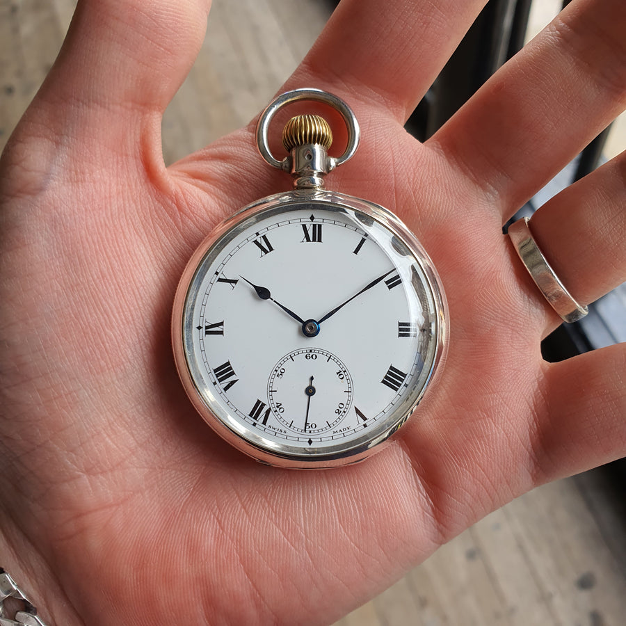 Antique Silver Open Face Pocket Watch