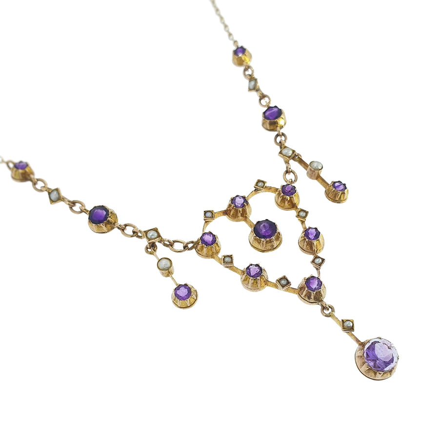 Edwardian Amethyst & Pearl Necklace