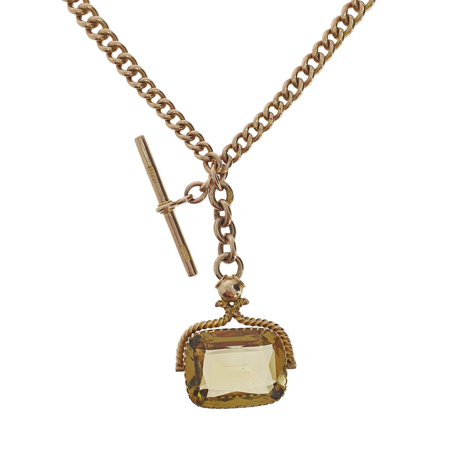 9ct Chester Albert Chain & Citrine Fob