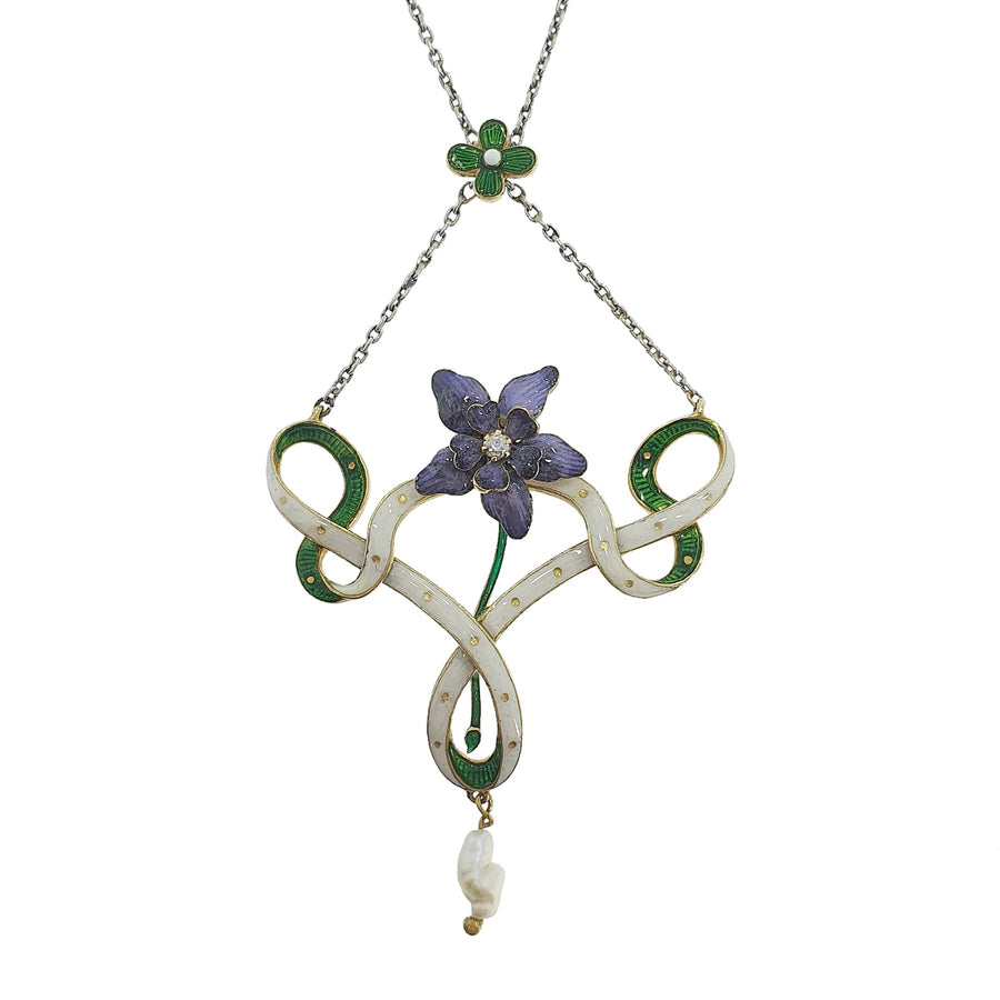 Edwardian Enamel Suffragette Necklace