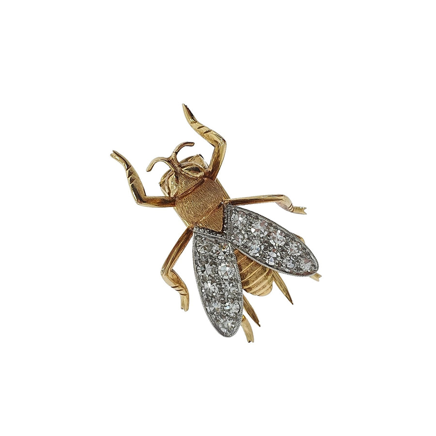Diamond Set Honey Bee Lapel Clip