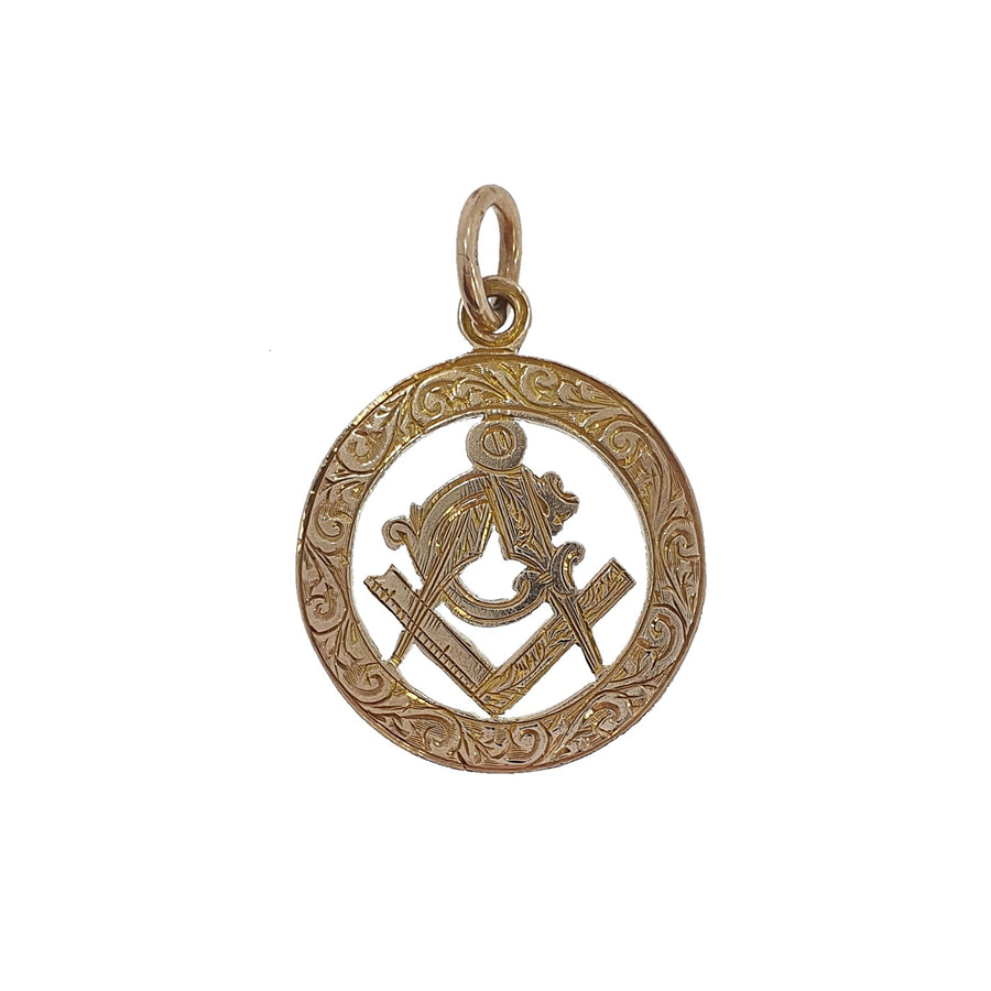 9ct Masonic Disc Pendant Charm