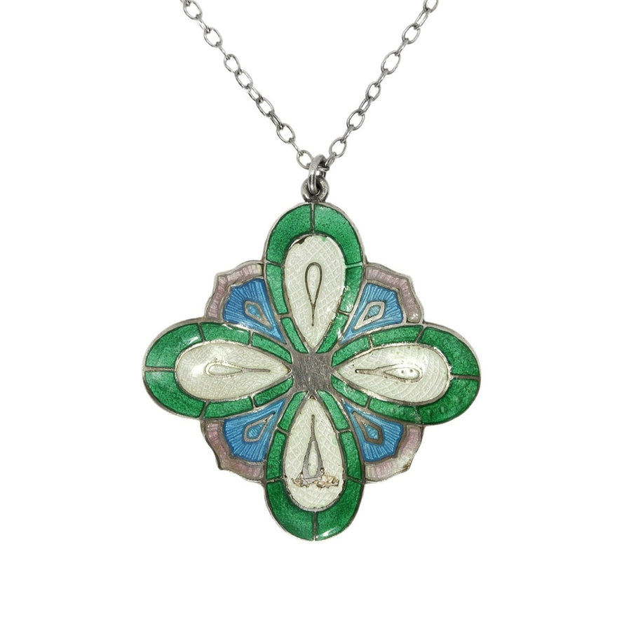 Antique Arts & Crafts Enamel Pendant