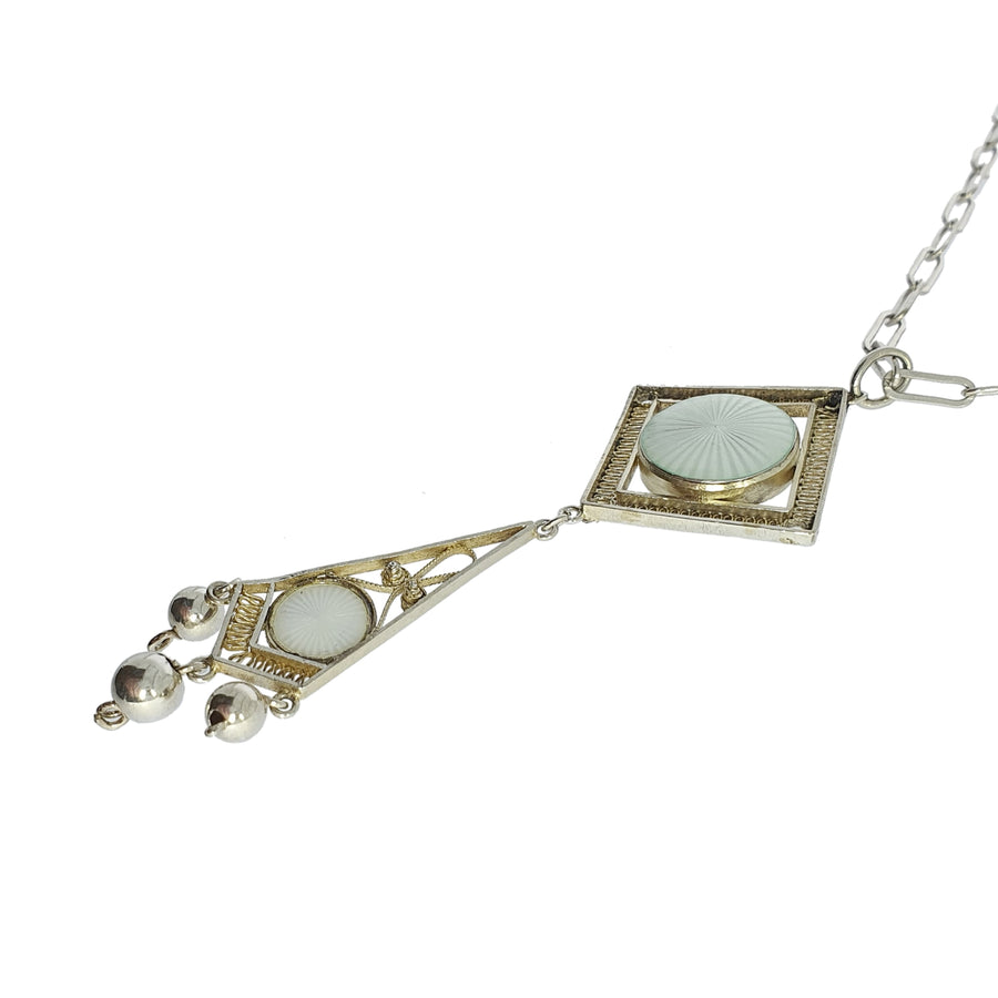 Vintage Silver & White Enamel Necklace