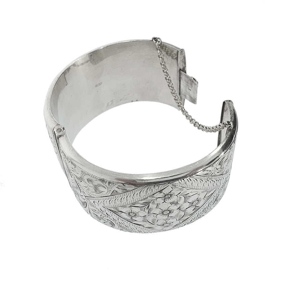 Hand Engraved Wide Silver Bangle