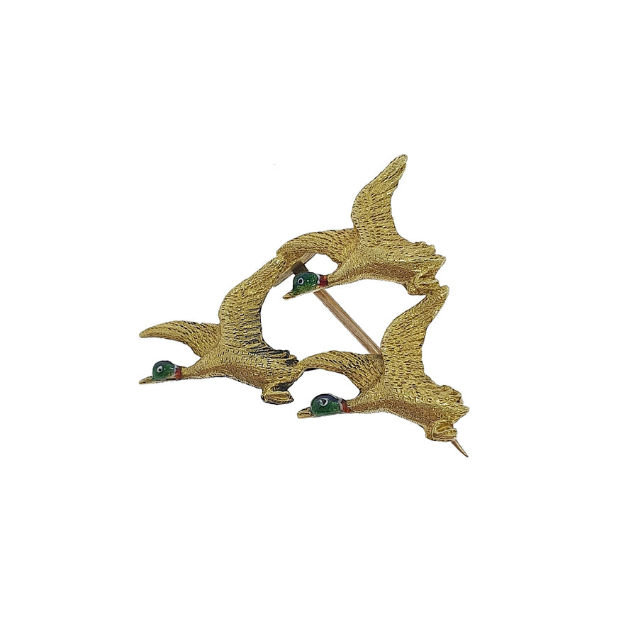 Vintage Enamelled Flying Ducks Brooch