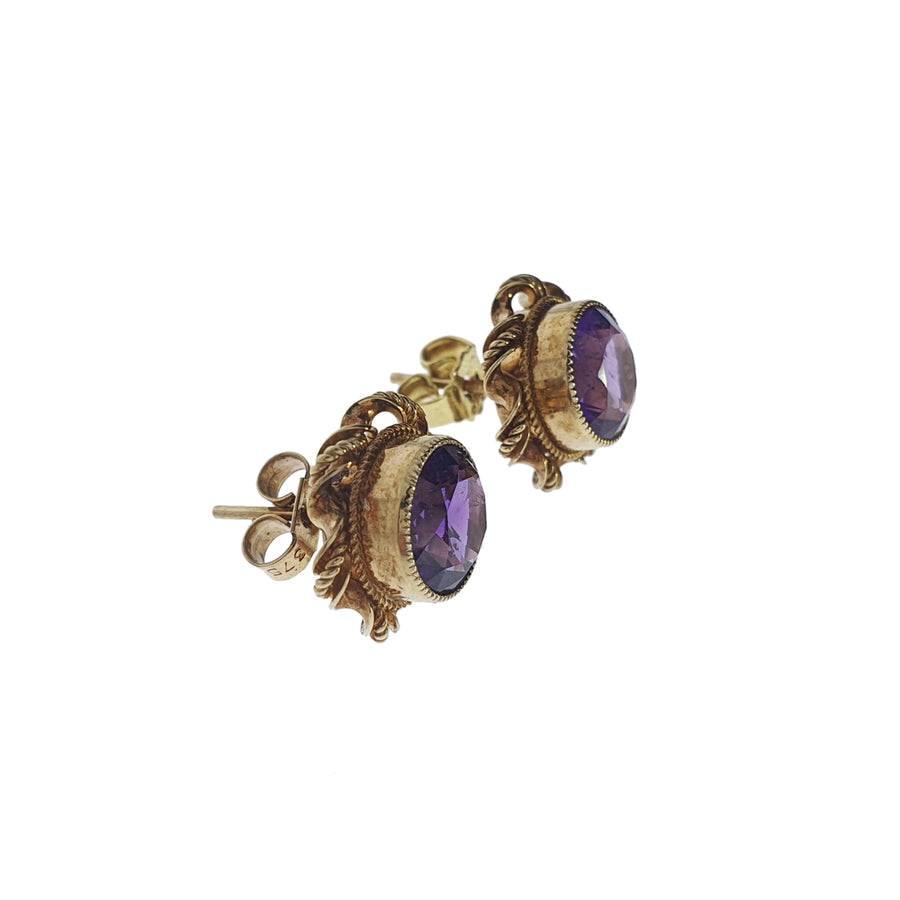 9ct Gold & Amethyst Earrings
