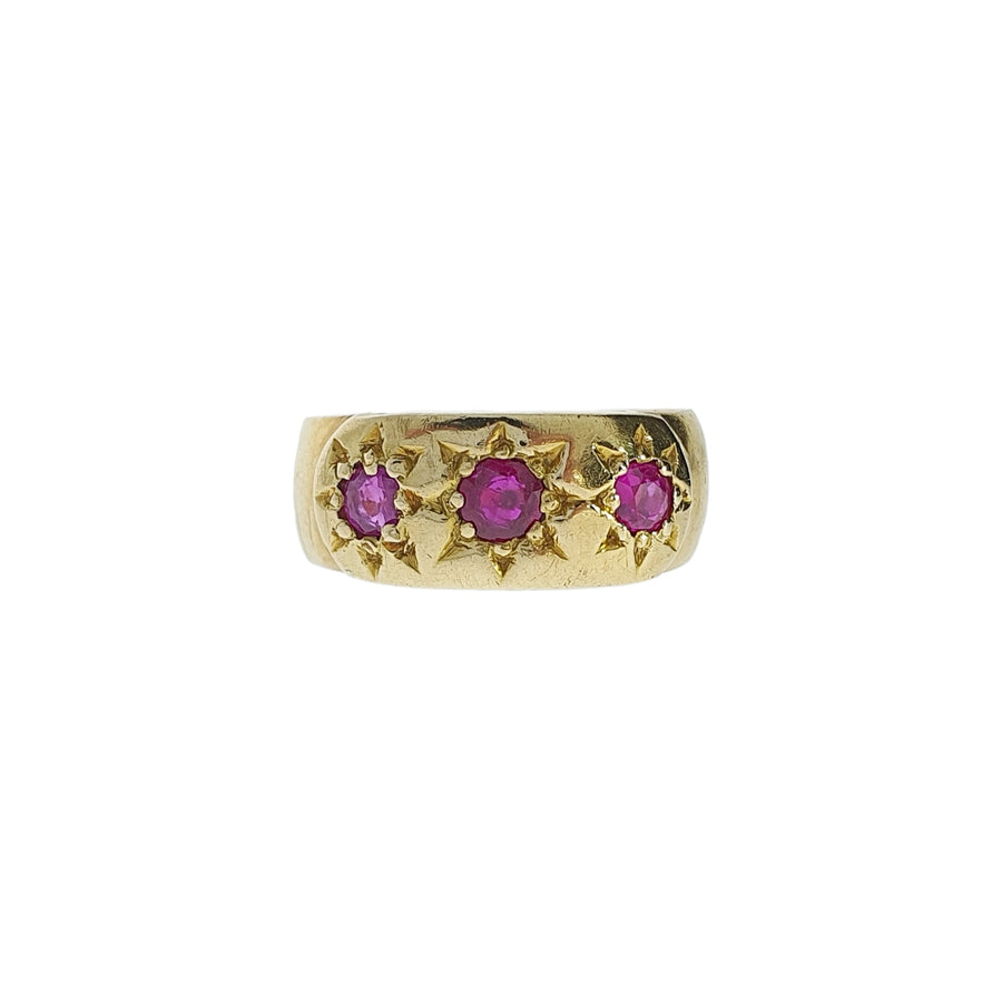 Antique Three Stone Ruby Ring
