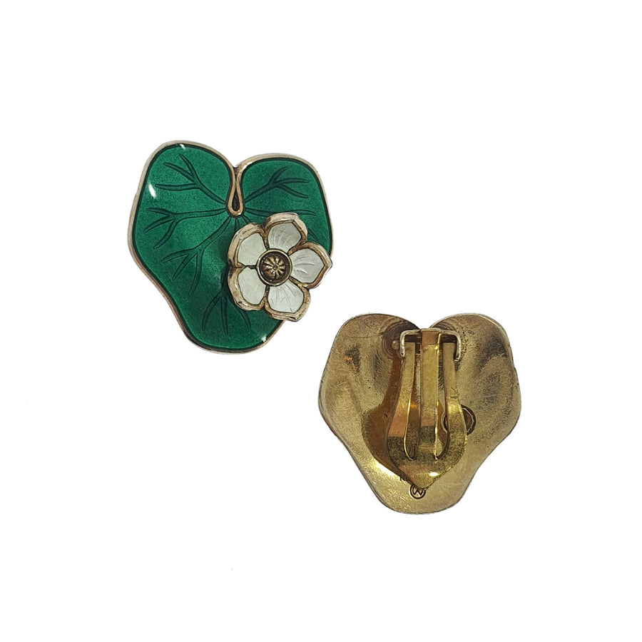 David Andersen Lily Pad Enamel Earrings