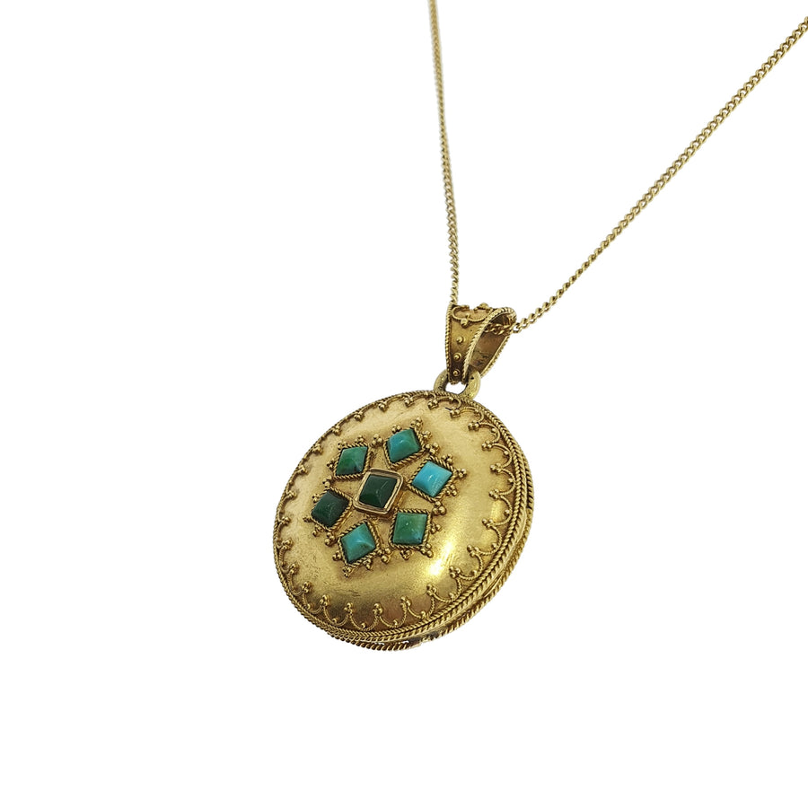 Antique French Turquoise Set Locket